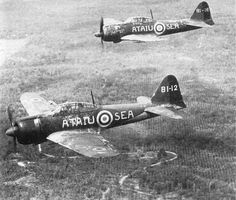 """lex-for-lexington:  Two Mitsubishi A6M Type 0 fighters in flight, with British markings, over Malaya, 1945. Abbreviations""""ATAIU"""" stood for""""Allied Technical Air Intelligence Unit""""."""
