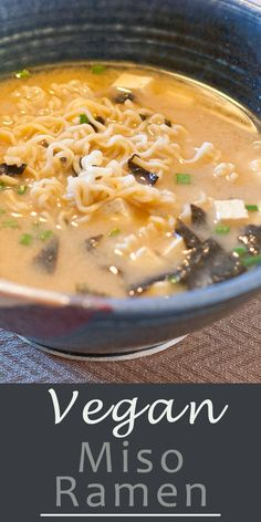 Vegan Miso Ramen - Used seaweed broth. Added lettuce and mushrooms. Add the miso directly to the boiling soup at the end. Added onion powder and black pepper to the indiv bowl. Vegan Ramen, Vegan Soups, Vegan Dishes, Vegan Miso Soup, Miso Ramen Soup Recipe, Ramen Soup Base, Vegan Food, Whole Food Recipes, Soup Recipes