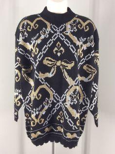 Gold Silver Bow Holiday Sweater Medium Dana Scott Glittery Made In USA #DanaScott #Crewneck