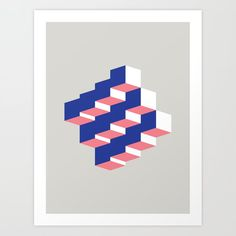 Abstract Cubes Art Print by Pretty Good Studio Abstract, Art Prints, Art, Society6