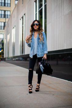 fashion blogger mia mia mine wearing a topshop denim oversized jacket and a vanessa mooney choker