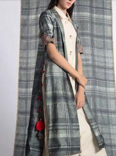 Khadi-silk Jacket and kurti with superb detailing.
