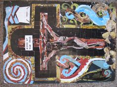The death of Christ on the cross.Surrounding are Maori symbols that I've hijacked representing aspects of the gospel story.