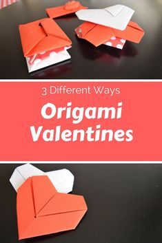 Fold a note of valentines for your kids with these three origami valentines #valenines #valentinesday #origami #kidcraft
