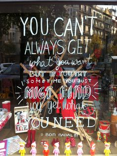 Adorable! You Can't Always Get What You Want window display. #lyrics #retail #windowdisplays