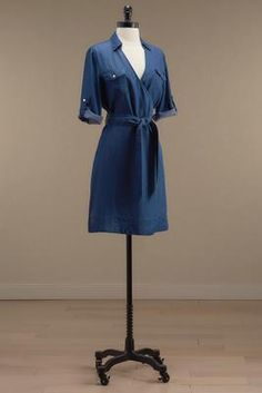 Versona belted faux wrap chambray dress #Versona