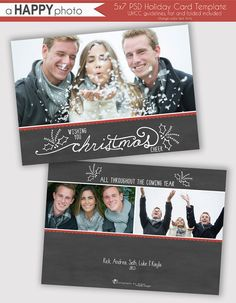 Chalkboard Holly Holiday Photo Card Template by ahappyphoto