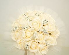 Flower Bridal Bouquet Ivory Roses Wedding Bouquet by BridalFairy, $110.00