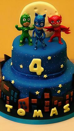 Themed birthday party for heroes in pajamas - Celebrat : Home of Celebration, Events to Celebrate, Wishes, Gifts ideas and more ! Pj Masks Birthday Cake, Birthday Cake Kids Boys, 4th Birthday Parties, 3rd Birthday, Birthday Ideas, Birthday Decorations, Torta Pj Mask, Pjmask Party, Party Ideas