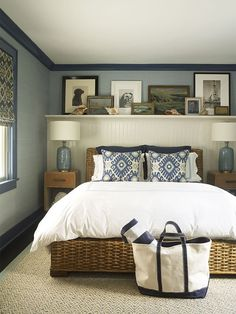 Gregory Shano Interiors Gregory Shano Interiors Nevenka M nevenkam Home Sweet Home Blue walls gallery wall bohemian accent pillows luxury interior bedroom design nbsp hellip units for bedroom luxury Rustic Master Bedroom, Home Decor Bedroom, Bedroom Wall, Bedroom Modern, Design Bedroom, Bed Room, Bed Wall, Decor Room, Bedroom With Blue Walls