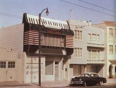 """Das Akkordeon-Haus der Musikschule von Theodore Pezzolo in San Francisco - zunächst veröffentlicht in """"The Golden Age of the Accordion"""" mit einem Foto von 1954: http://home.earthlink.net/~flynnpub/photo.htm  und 1980 im Magazin California Crazy: Roadside Vernacular Architecture. Leider heute """"zurückgebaut"""". Stichworte: #Accordion, #House, #Architecture"""