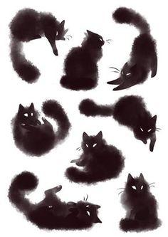 Risultati immagini per furry black cat tattoo Portfolio Illustration, Black Cat Illustration, Halloween Illustration, Watercolor Illustration, Illustration Animals, Illustration Artists, Desenho Tattoo, Ouvrages D'art, Crazy Cats