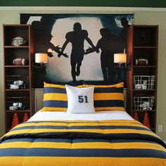 Teen Boys Room Design Ideas, Pictures, Remodel, and Decor - page 7 --- jr two bookshelves as bedside tables with wall lighting attached                                                                                                                                                      More