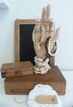 Artist's Wooden Hand Model as jewelry storage and display --- great idea!