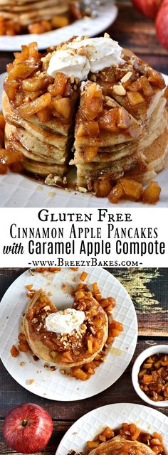 Wake up to a sweet treat with these indulgent Gluten Free Caramel Apple Pancakes; light and fluffy cinnamon apple pancakes with a caramel apple compote and freshly whipped cream. Apple Compote Recipe, Apple Pancake Recipe, Pancake Recipes, Gluten Free Pancakes, Pancakes And Waffles, Cinnamon Apples, Caramel Apples, Apple Caramel, Gluten Free Appetizers