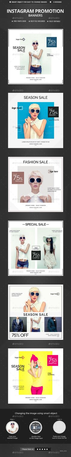 Sales Instagram Banners - 6 Tempaltes #design #ads Download: http://graphicriver.net/item/sales-instagram-banners-6-templates/12901326?ref=ksioks