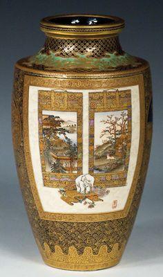 Satsuma baluster vase.Kinkozan and Sozan.