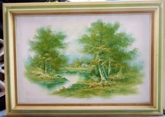VTG-ORIGINAL-SIGNED-034-H-Ran-034-OIL-CANVAS-PAINTING-CABIN-LAKE-WOODS-FOLIAGE