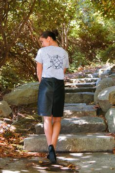 Vintage Coast Guard Graphic Tee and a Leather Skirt. Oh so chic! Would wear this anyday!