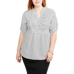 2bb9c2f8918 Women s Plus Dot Henley Pleat Front Woven Shirt - Walmart.com