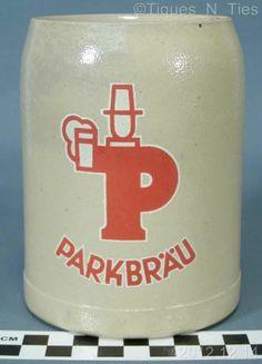 Vintage Parkbrau German Stoneware Beer Mug Stein Tankard