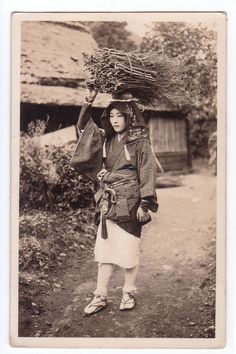 "oldtimejapan: "" 大原女 "" Oharame. About 1900, near Kyoto, Japan. A rural town nestled in the mountains about 14 kilometers north of the heart of Kyoto, Ohara's most iconic image is its ""Oharame."" Oharame..."