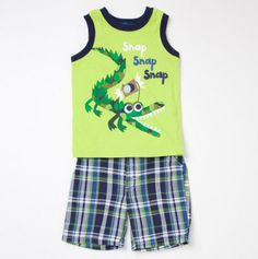 Infant Alligator Sleeveless Tee and Plaid Short Set