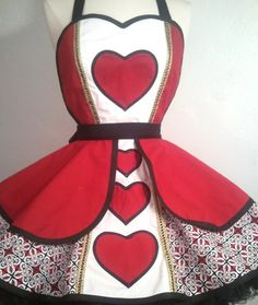 Plus Size Queen Of Hearts Pin Up Costume Apron by PickedGreen