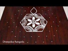 Beautiful flower rangoli design with dots // Latest rangoli designs Small Rangoli Design, Rangoli Designs With Dots, Rangoli With Dots, Beautiful Rangoli Designs, Kolam Rangoli, Flower Rangoli, Simple Rangoli, Latest Rangoli, Colored Rice