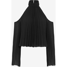 Exclusive for Intermix for Intermix Perris Cold Shoulder Pleated... ($225) ❤ liked on Polyvore featuring tops, blouses, black, open shoulder blouse, black blouse, cut out shoulder blouse, black cut out top and long sleeve blouse