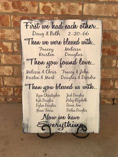 First We Had Each Other | 40th Anniversary Gift | 50th Grandparents Gift | Anniversary Present | 60th | 55th | Parent Anniversary Gift  Please see Shop Announcements for current Production Time: https://www.etsy.com/shop/CastleInnDesigns  FIRST WE HAD EACH OTHER (or FIRST WE FOUND EACH OTHER) (wedding date & names) THEN WE WERE BLESSED WITH... (up to 3 childrens dates & names on this size) THEN YOU ( or THEY) FOUND LOVE... Childrens spouses & wedding dates THEN YOU (or THEY) BLESSED US…