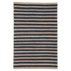 jute stripe rug, navy from Pottery Barn Teen