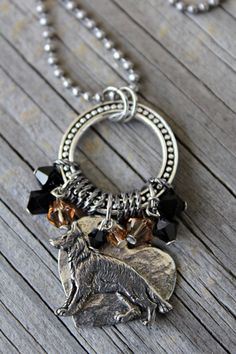 German Shepherd Dog Necklace I Love My GSD by KathrynsCollection