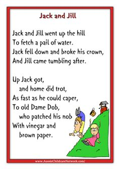 Jack And Jill Rhymes Nursery Lyrics Songs Preschool