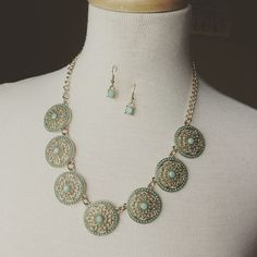 Necklace and Earring Set {Mint and gold}