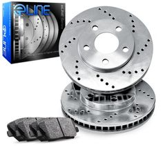 2006 2007 2008 2009 Mazda 3 2.3L Slotted Drilled Rotor M1 Ceramic Pads R