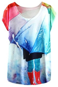 Graphic Umbrella Multicolor #Tee wih Short Sleeves - OASAP.com ¯`•.❤ Free Shipping Worldwide + Up to 85% Off Holiday Deals