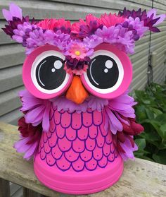 Whimsical flower pot owl made by Sandy Byerly at Family Time Crafts. Follow us on Facebook
