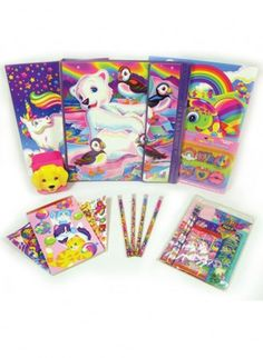 """Lisa Frank Classic School Assortment: Lisa Frank! """"Classic School Assortment"""". You get two folders, a trapper keeper (and yep that Velcro ripping noise as you open the binder is just as exciting as ever!), pencils, stationary, erasers, a ruler, a notebook, and some classic stickers. Oh and a pencil holder that has a magnetic strip on it that's just perfect for the fridge!"""