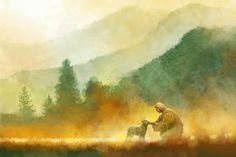 picture of jesus christ in a field kneeling down with a sheep trees and mountains in the background Paintings Of Christ, Sheep Paintings, Jesus Painting, Lds Art, Bible Art, Background Jesus, Spiritual Background, Arte Lds, Illustration Art Nouveau