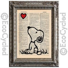 Snoopy Heart on Vintage Upcycled Dictionary Page Book Art Print Recycled on Etsy, $10.00