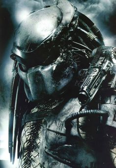 """Classic Predator """"a. Crucified Predator"""" is similar to the original counterpart, """"The Jungle Hunter"""" from the first Predator film. But was killed during a duel with the Berserker Predator and has its head taken. Alien Vs Predator, Predator Helmet, Predator Movie, Predator Alien, Predator Cosplay, Alien Convenant, Wolf Predator, Alien 1979, Cyborgs"""