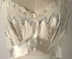 American silk nightgown, 1952 (detail of embroidery and monogram) ~ Sweet Little Things