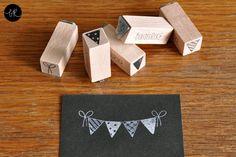 Ministempel - Stempel / Mini Stempel im SET: Wimpel-Stempel - ein Designerstück von bastisRIKE bei DaWanda