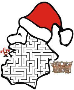 childrens puzzles, mazes games | Santa Christmas Maze - Free Printable Christmas Maze
