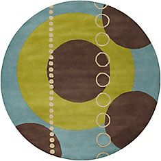 Rismes Sky Wool 4 Ft. Round Area Rug