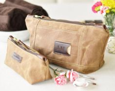 Waxed Canvas Toiletry Bag Set: Personalized, Travel, Organizer, Brown - No. 317 & No. 275 (Made in the USA) FREE Domestic SHIPPING