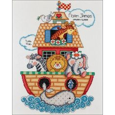Free Baby Cross Stitch Patterns | Tobin Noah's Ark Birth Record Counted Cross Stitch Kit