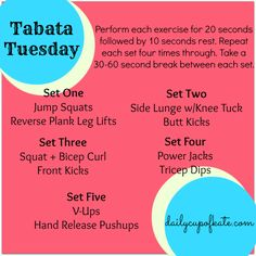 tabata - except 8 times each Tabata Training, Tabata Workouts, Easy Workouts, Hiit, At Home Workouts, Cardio, Training Tips, Wellness Fitness, Fitness Nutrition