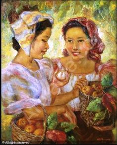 Anita Magsaysay Ho - Two Girls with Fruit Basket